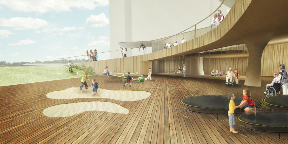 A : Playground for the children and Observing terrace for the elderly