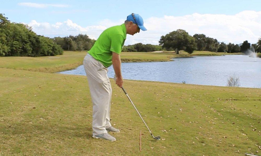 Sidehill Lie Golf Shot Ball Below Feet