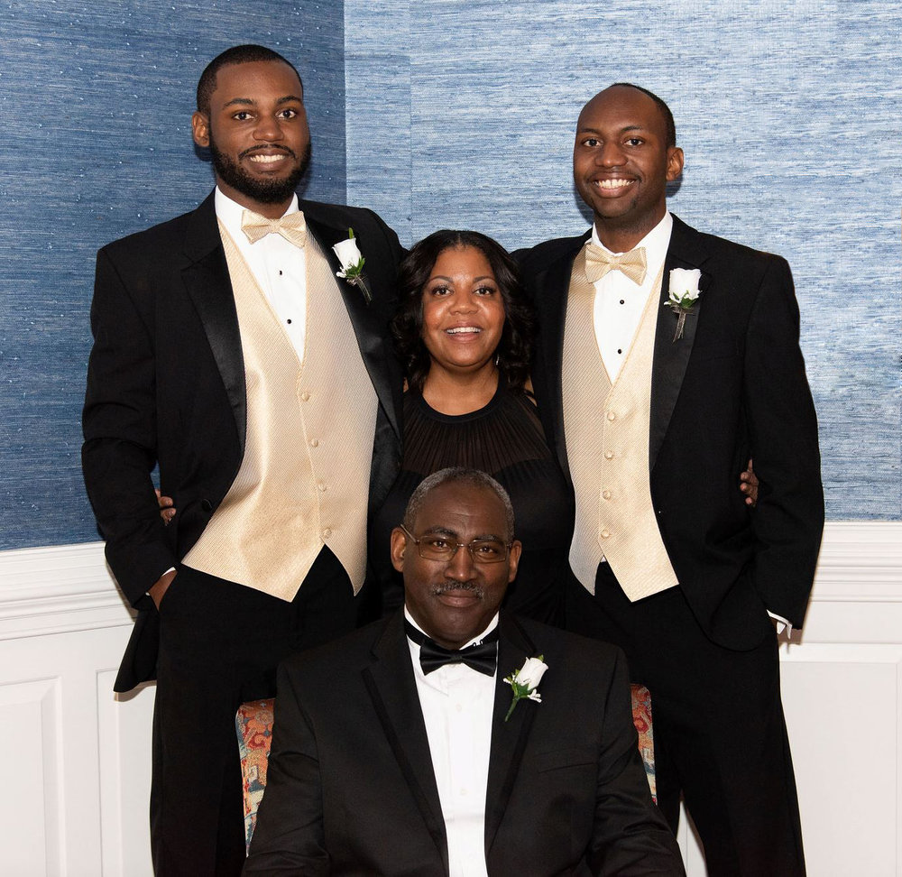 James and his wife Shelly and his sons Brandon and Grant.