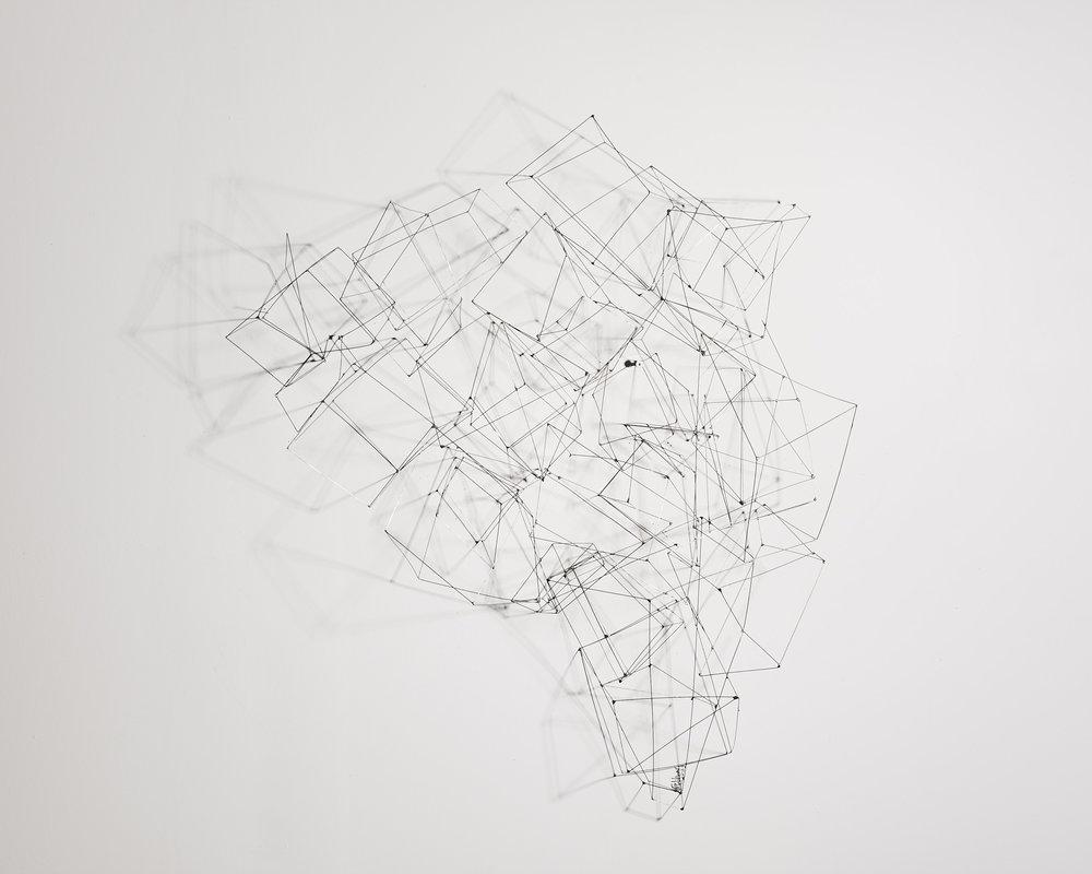 Emboîtement 1   2012, fils de maillechort, soudure  80cmx1m