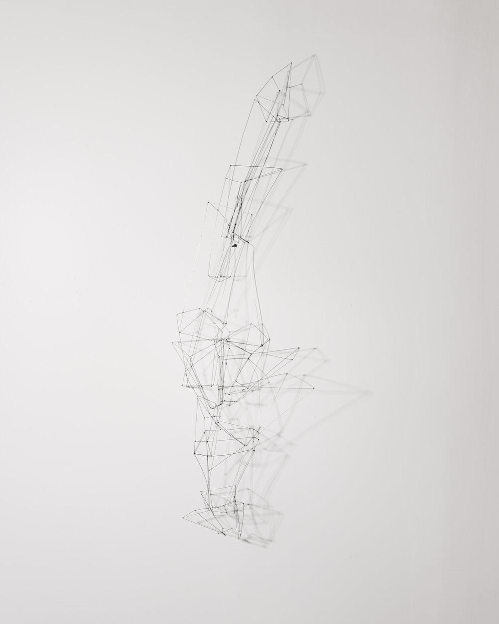 Emboîtement 2   2012, fils de maillechort, soudure  1m50x45cm