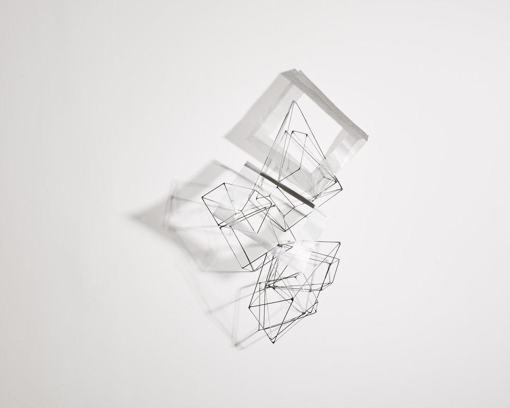 Déploiement 1   2012, fil maillechort, plaques aluminium, soudure   60x70cm