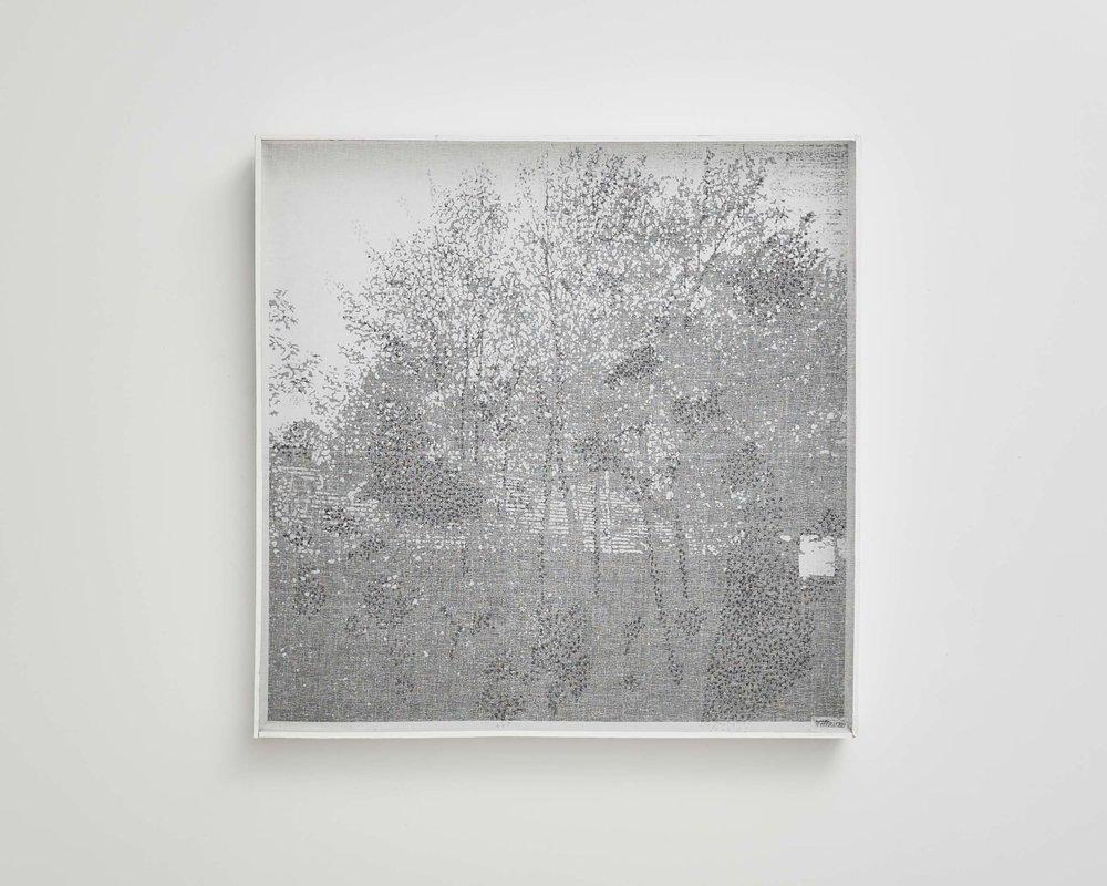 Dessin-écran 4   2010, Bercy 86, photocopie, trame, crayon graphite et boîte bois   1x1m.