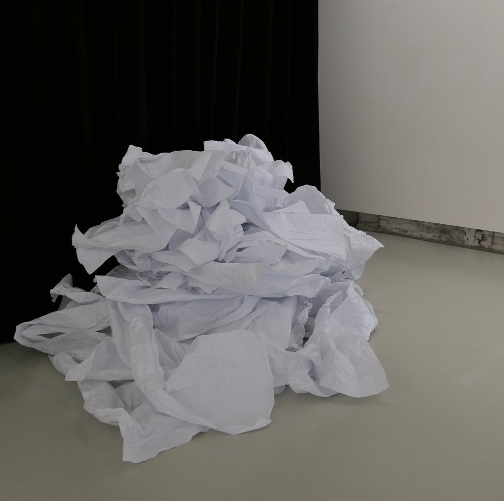 Papier 6, 2018, Montagne, kraft blanc 2,50x2m.
