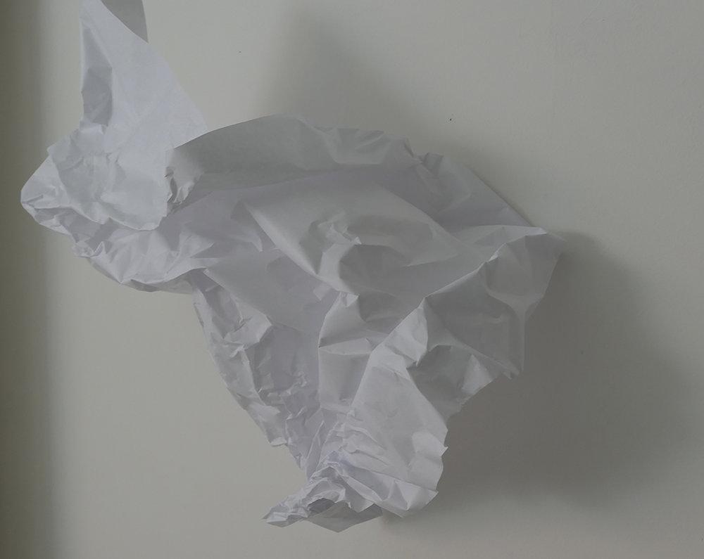 Papier 10, 2018, Voile, kraft blanc 3x2m.