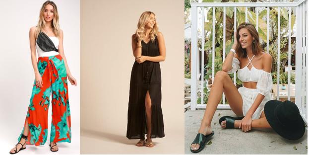 Surfer & Beach Goer ( Lulu's Red & Teal Blue Print Wrap Pants ;  Koy's Paradise Maxi Dress  &  Malvados Icon Sandals