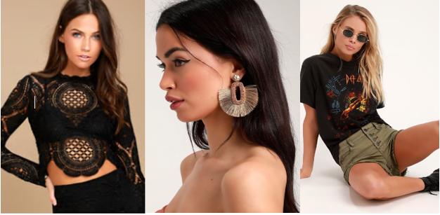 Trimmings ( Lulu's Lace Long Sleeve Crop Top ;  Lulu's Tan Beaded Fringe Earrings  &  Lulu's Sage Green Distressed Shorts )