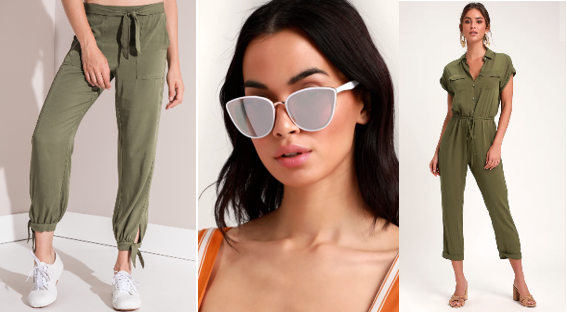 Streetwear Forever ( Rag Poets Keller Tie Detail Pant ;  Lulu's White and Gold Sunglasses  &  Lulu's Olive Green Drawstring Jumpsuit )