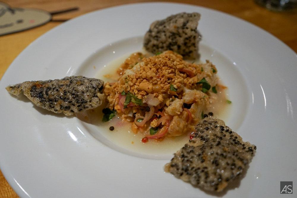 Goi Ca | Halibut crudo | pickled onions | lime juice | roasted peanuts | sesame crackers