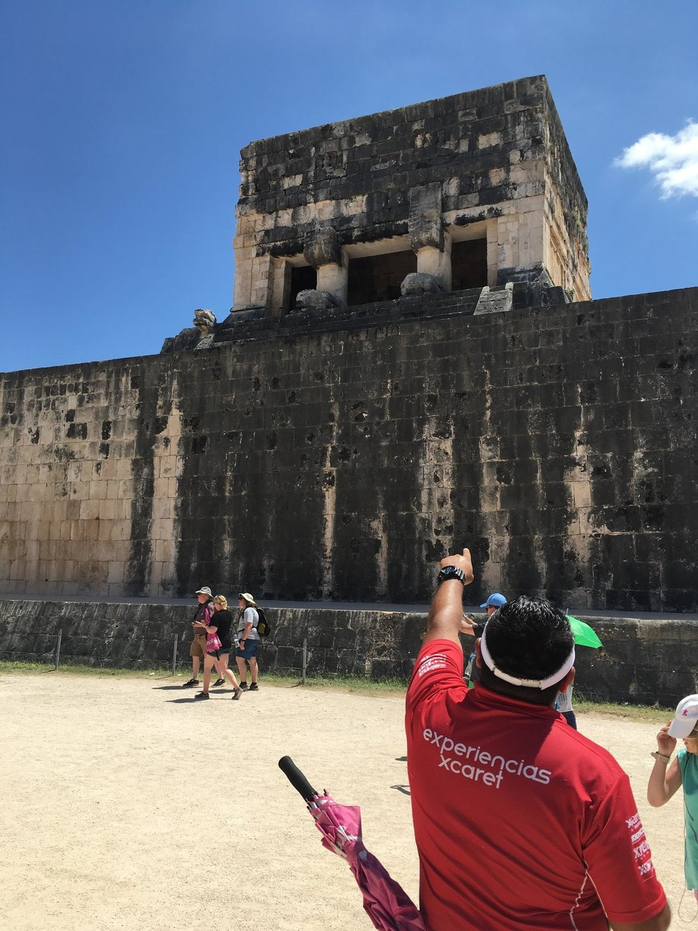 Raul explains the Mayan Ball Court