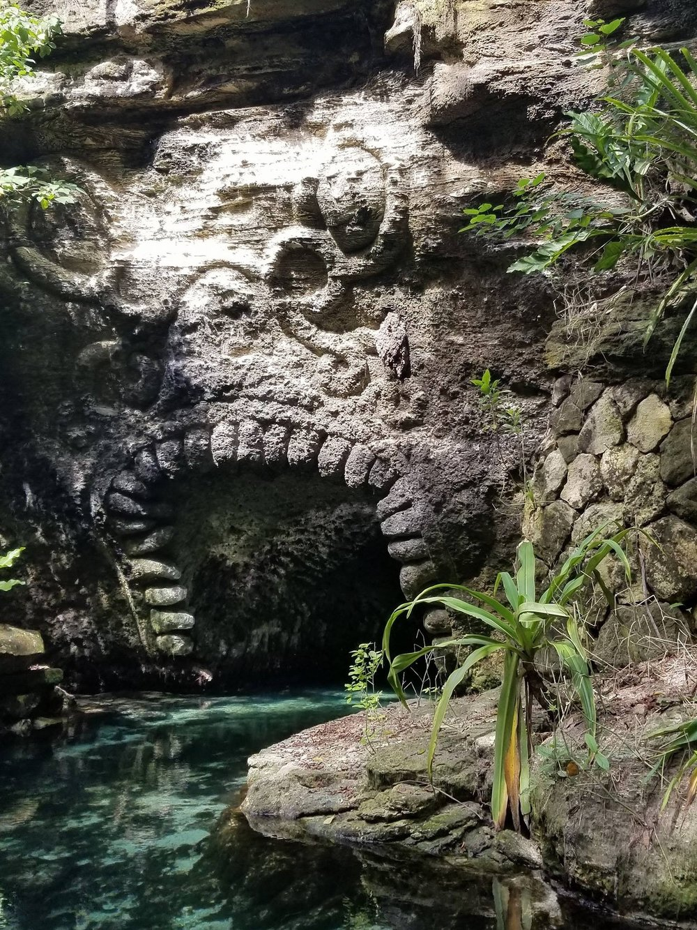 "The ""mouth"" cave entrance as seen from The Paradise River Cruise at Xcaret."