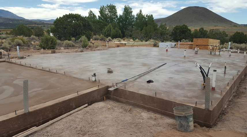 Colored slab for a mountain home in Veyo, UT