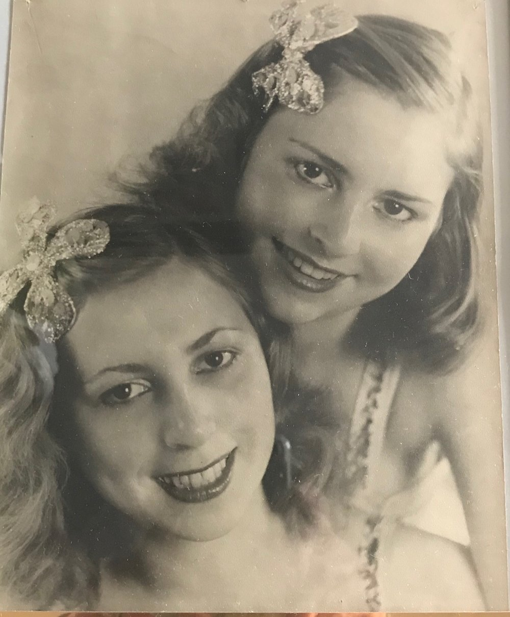 Sonja & Bianca, Hamburg, Germany, circa 1945. My 19 year old grandmother, who danced with a touring Italian dance company, and my 13 year old great aunt, at the end of the war, and at the very beginning of a professional partnership that spanned 2 decades, and 2 continents. Along with my great grandmother, who sewed their costumes, they miraclulously survived the bombing of Dresden, which destroyed literally everything they had. Just a short time after this photo was taken, Sonja was diagnosed with a brain tumor that was predicted to take her life, but took only her sight. She continued to dance until she was 74.