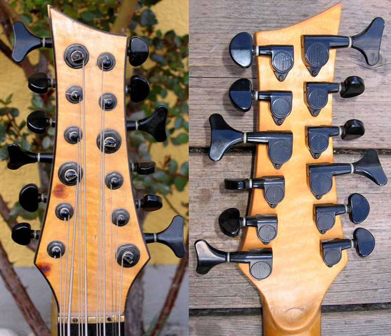 Kluson tuners. Matthias stated that the headstock design is a copy of the Dean Rhapsody 12 headstock, and he got the idea for using this design from this website.