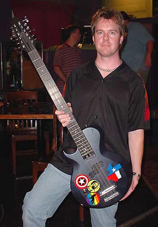Philip with Doug's Yamaha 12-String Bass.