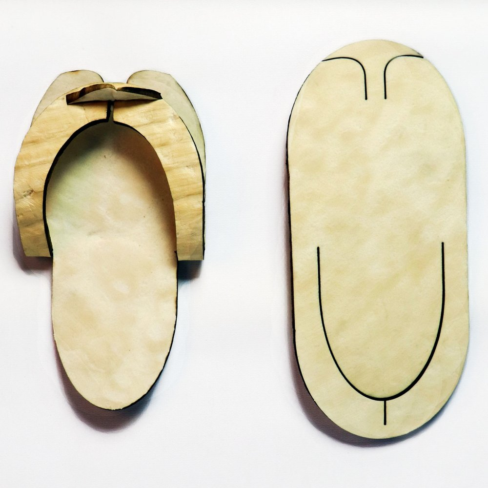 """Spa Slippers - Mycelium foam is an Earth-friendly material that is compostable after its intended product life cycle. Our spa slippers are designed to replace conventional single-use, """"disposable"""" spa slippers that do not break down or biodegrade."""