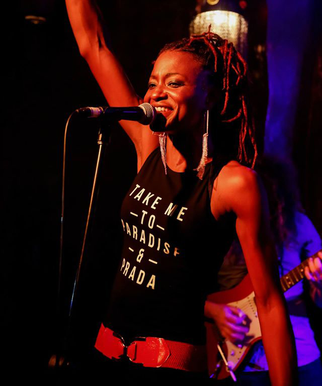 "Sharon ""Shazza"" Brooks   Barbadian born, Montreal raised Sharon Brooks is the fire that is PocketLove. Her onstage personality and vocals have undoubtedly set the band apart from any other."