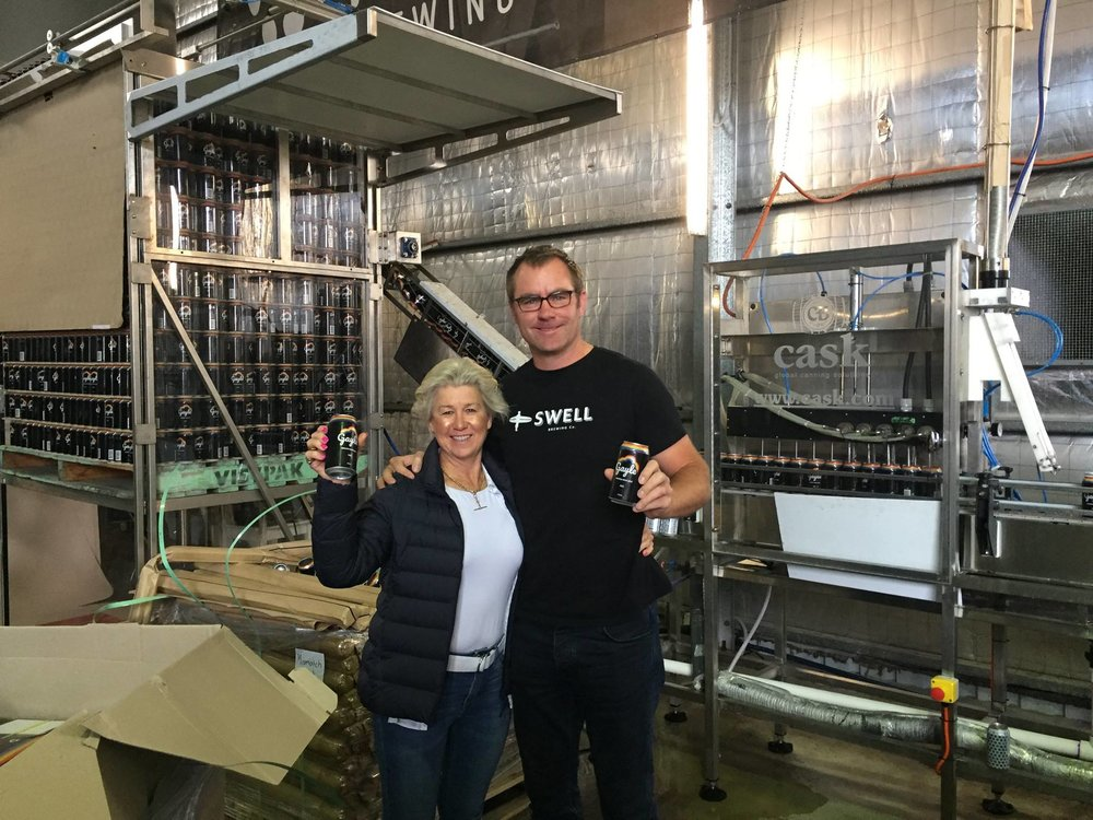 Founder Virginia Buckworth and Brewmaster Dan Wright from Swell Brewing Co. (left to right)