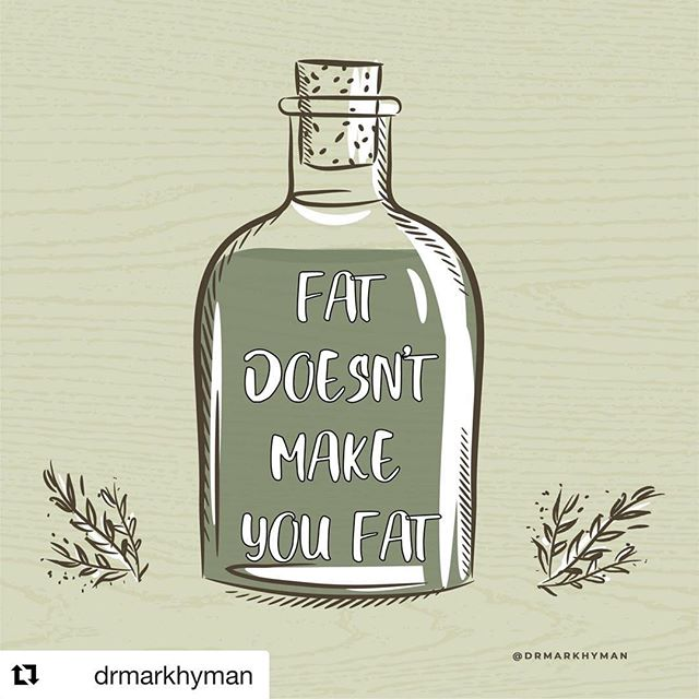 #Repost @drmarkhyman with @get_repost ・・・ No assumption has been more catastrophic for our health than the one insisting that fat makes you fat and causes heart disease. We've been taught to think of fats and oils as a necessary evil— the unhealthy part of anything we eat and the stuff needed to keep food from sticking to the pot. Nothing could be further from the truth. Fat is essential for health.⠀ ⠀ Dietary fat is very complex. Some fats are good and yes, some are bad. Eating the right fats burns body fat, boosts your metabolism, improves your HDL, lowers your triglycerides, and is associated with a significantly lower risk of heart disease, diabetes, and obesity. We need fats for healthy cell membranes. We need them to make hormones (like testosterone and estrogen) and immune cells, and to regulate inflammation. We need fats because 60% of our brains are fat.⠀ ⠀ This is why you should not live in fear of fats and oils. Rather, keep in mind that naturally occurring fats in our whole foods aren't the problem; it's the refined, processed fats and oils that are added to our food by the food industry that are. You see, instead of eating delicious, healthy fats, we've been told to eat inflammatory trans fats and vegetable oils. Vegetable oils like canola oil, sunflower oil, soybean oil, and safflower oil which are high in omega-6 fats, which can increase inflammation. ⠀ ⠀ To get and stay healthy, eat quality fat at every meal. You should get most of your fats from meat, fish, poultry, eggs, dairy, avocados, nuts, extra virgin olive oil, virgin coconut oil, and grass-fed butter. And at the end of the day, remember that the kind of fat you eat is more important than how much. Focus on eating a diet of whole foods and avoid processed junk foods.⠀ ⠀ #drmarkhyman #fat #oil #weight #weightloss #hearthealth #health #diet #foodthebook #nutrition #healthyeating #wellness #markhyman