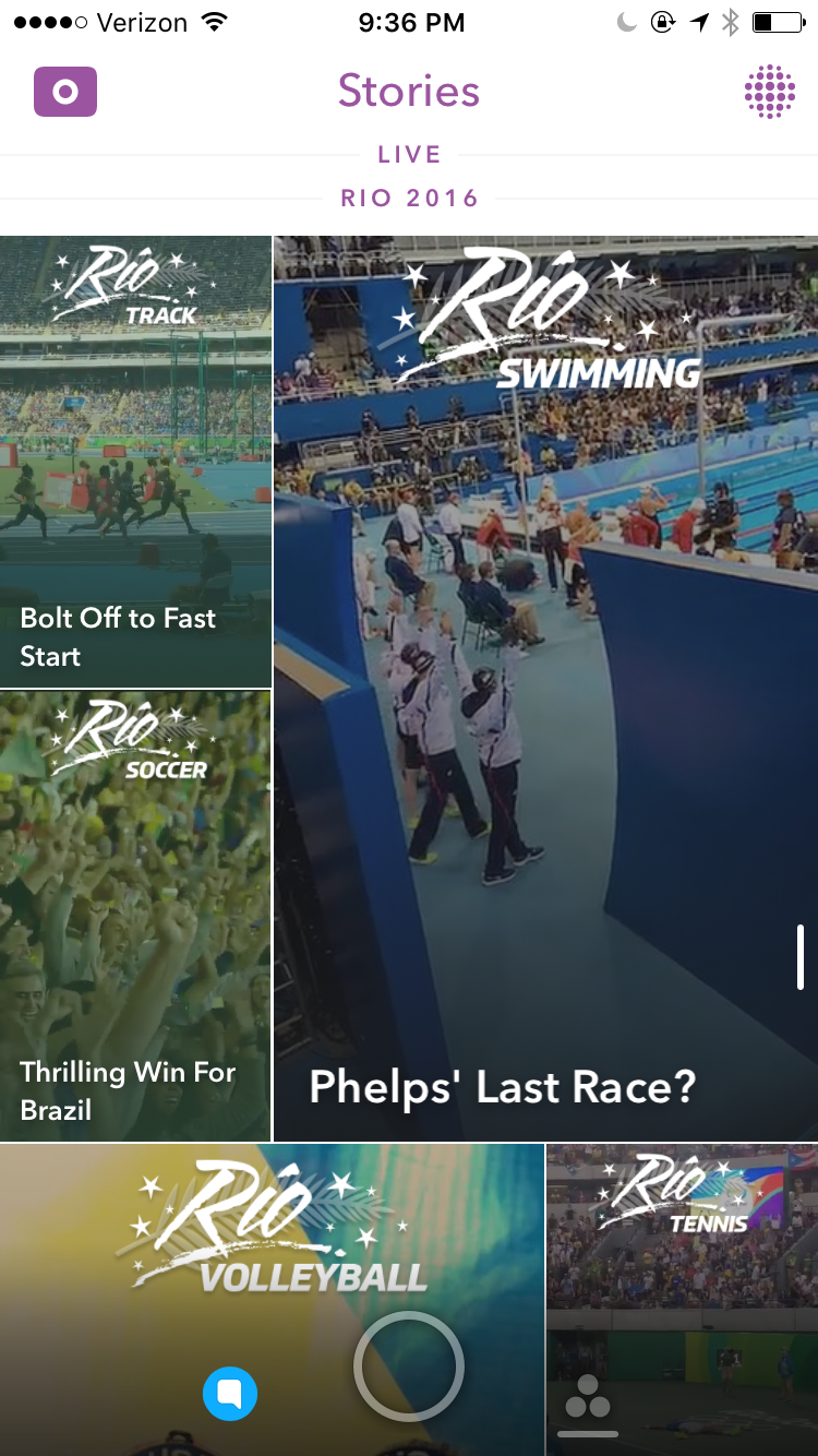 Snapchat's Stories view of the Rio 2016 Olympics