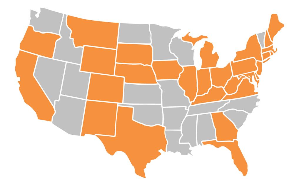 States that have deregulated energy include California, Colorado, Connecticut, Florida, Georgia, Illinois, Indiana, Maine Maryland, Massachusetts, Michigan, Montana, Nebraska, New Hampshire, New Jersey, New Mexico, New York, Ohio, Oregon, Pennsylvania, Rhode Island, South Dakota, Texas, Virginia, West Virginia, and Wyoming.