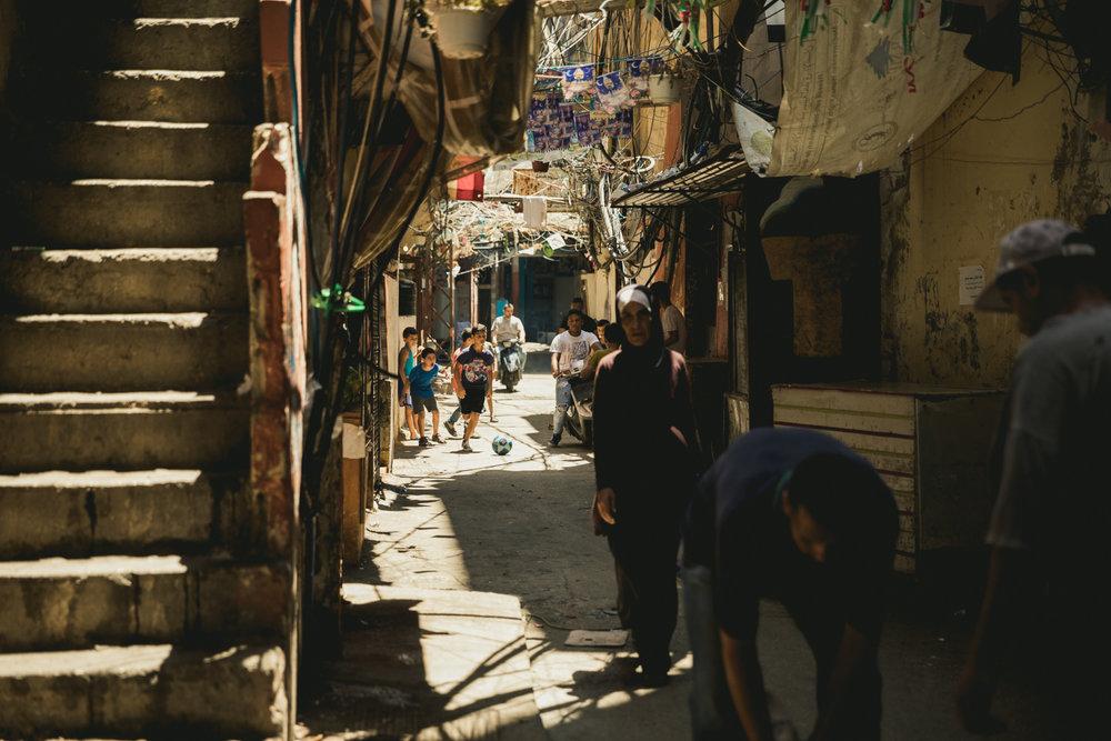 A busy corridor in the Shatila refugee camp.