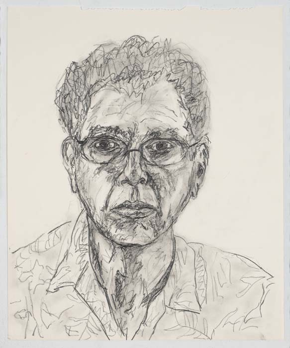 "Bill Brand, self-portrait, pencil on paper, 7"" x 14"", 2007"