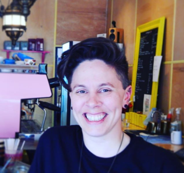 """- """"Being the owner of a coffee shop and also someone who is visible a queer person I think it has been important because women in coffee is not common, there's lots of female baristas but actually owned spaces by women are rare and also owned spaces by visible queer women are also really rare, so I feel is very important to be visible and to make this space feel safe"""" - Sarah, Owner@empireto"""