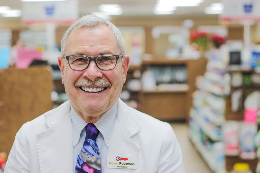 Robin R - Pharmacist  Robin has been with Key Drugs since 2009. He has had a B.S in Pharmacy since 1973 from St. Louis College of Pharmacy and graduated from high school in Hannibal, MO. Robin worked as a retail pharmacist for 8 years (1973-1981) before he began his career as a sales representative. He worked as a Senior Executive Sales Representative for 28 years for the company Eli & Lilly, and while working with them was exposed to training in diabetes, women's health, and mental health. Robin also brought the insulin, Humulin to market in 1982. He holds a certificate in CPR, AED and compounding. While not working he enjoys golfing, hunting, fishing, traveling, and experiencing the taste of different foods. He has been married for 33 years, has 2 daughters, and also 2 granddaughters.