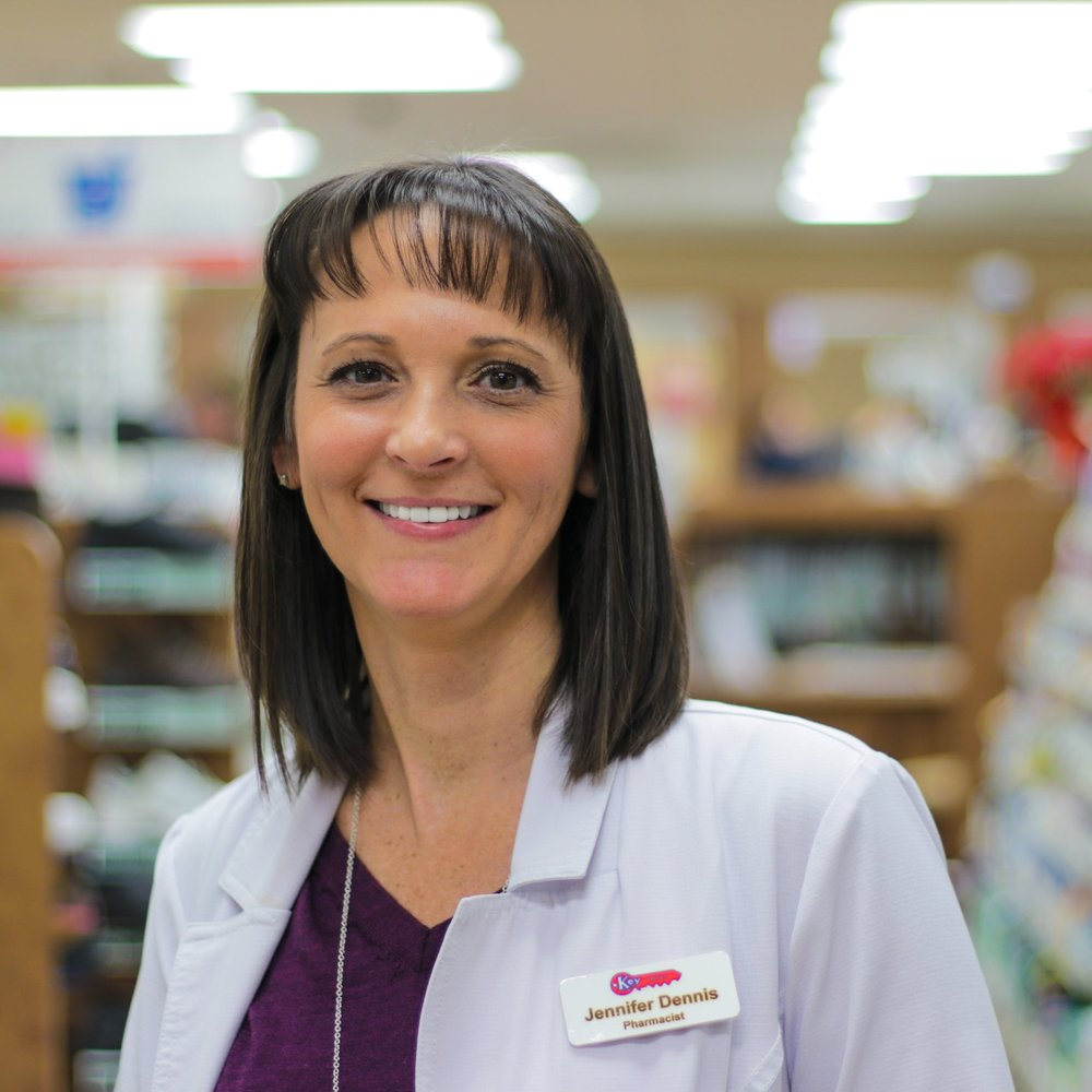 Jennifer D - Pharmacist  Jennifer has been with Key Drugs since 2006 and received her Pharm. D degree from UMKC in June 2006. She graduated high school from Neelyville, MO and obtained a Pre-Veterinarian degree from TRCC before attending UMKC to further her degree as a pharmacist. She holds a certificate in compounding medications as well as CPR & AED training. Jennifer is also a licensed immunizer for vaccination such as the flu vaccine.
