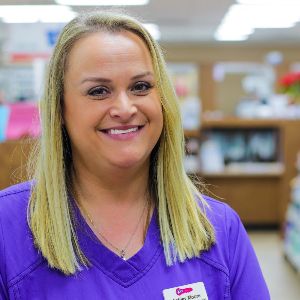 "Ashley M - DME (Respiratory Therapist)  Ashley graduated from East Cart RII and started with Key Drugs in 2004. In her spare time, she enjoys barrel racing, reading and spending time with her husband (Justin) and daughter (Charleigh).  ""I love that our pharmacy is locally owned. There is a real sense of family and community.""   Click here to email Ashley"