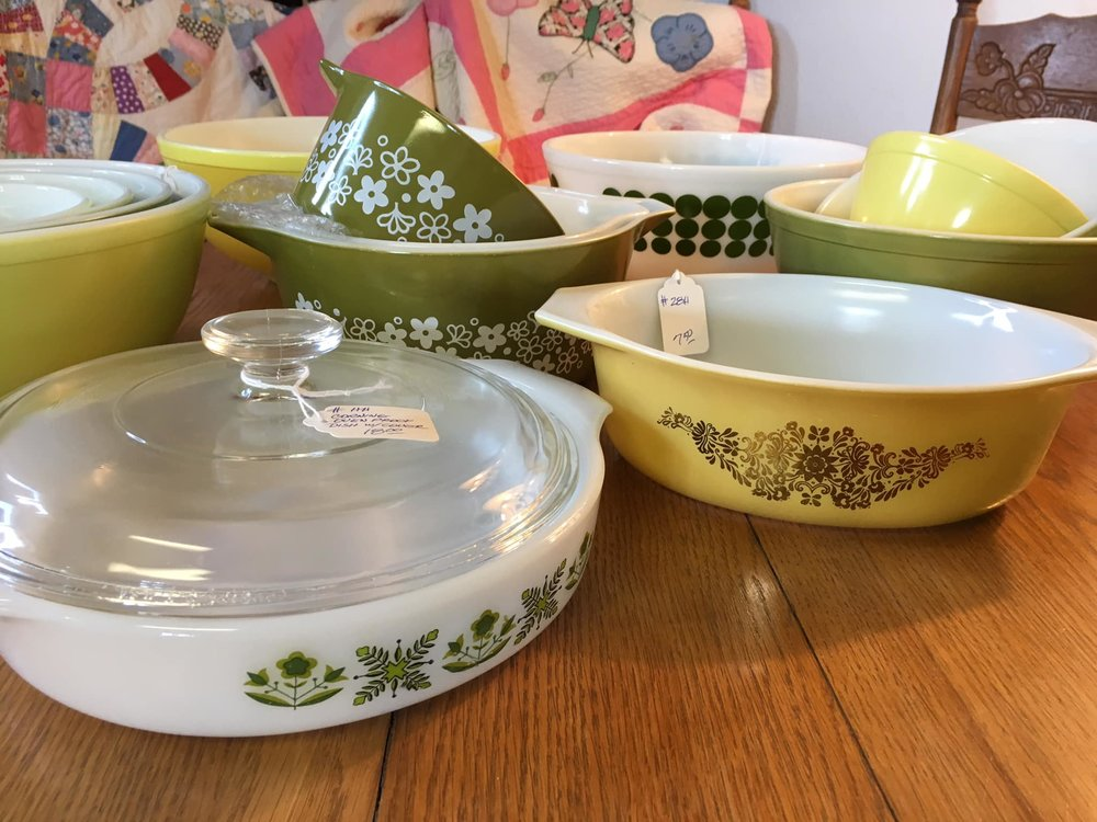Pyrex in avocado green and gold patterns