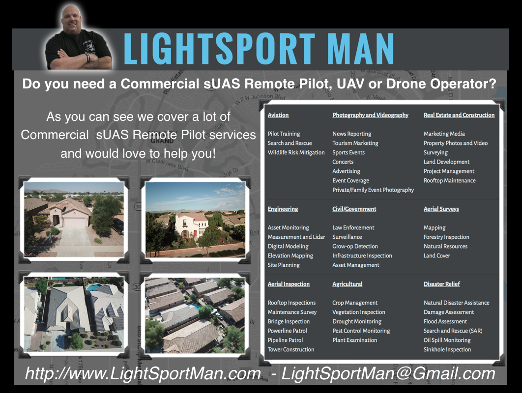 Johnathan Mark Smith AKA LightSport Man - Commercial sUAS Remote Pilot service