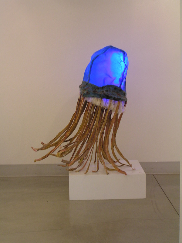 Blue Polyp Rawhide, steel, fabric and LED lights