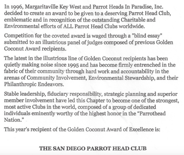Letter from Parrot Heads in Paradise (PHiP) recognizing SDPHC.