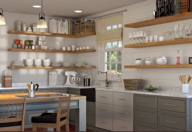 Using Floating Shelves in an Open Shelving Design — Sheppard ...