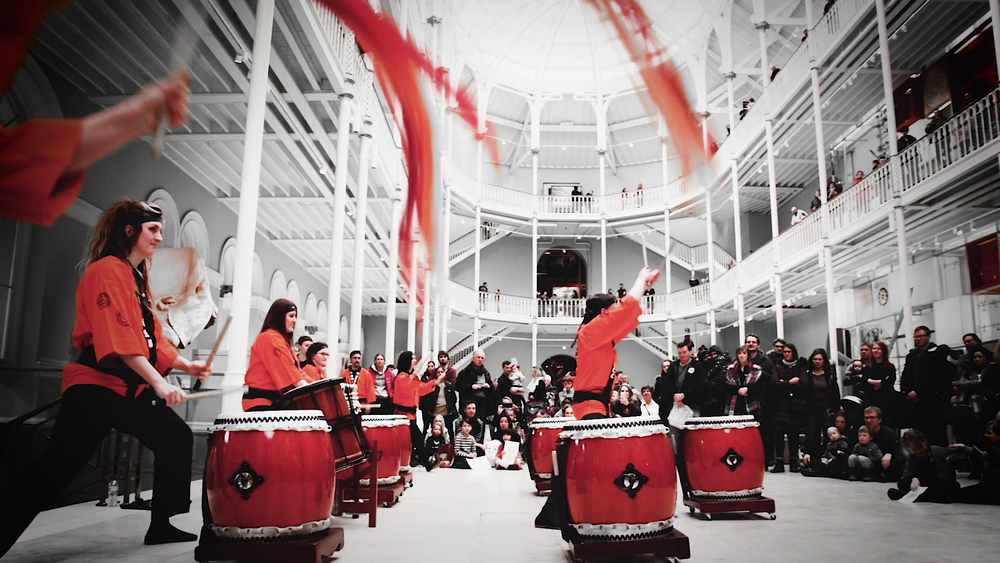 Taiko music gig National Museum stage right streamers 2.png