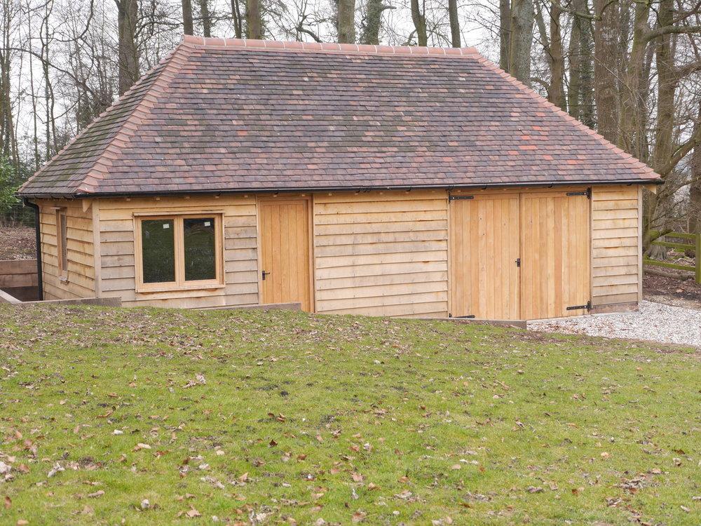 timber framed garage, oak framed garage