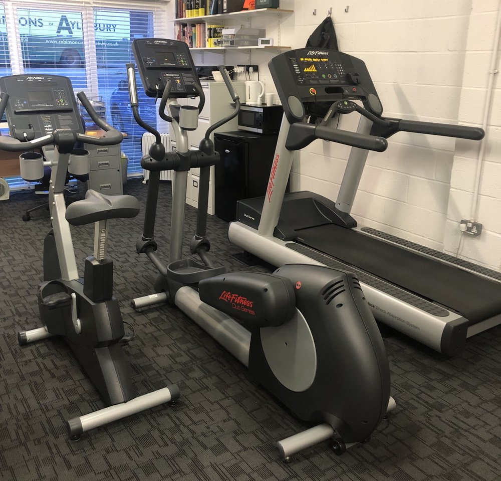 For calorie burning aerobic training I have Lifefitness commercial grade cardio machines plus a Concept2 rower…