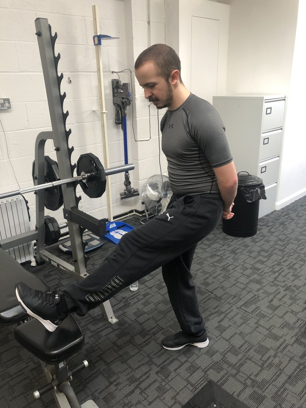 Matt doing a hamstring stretch…