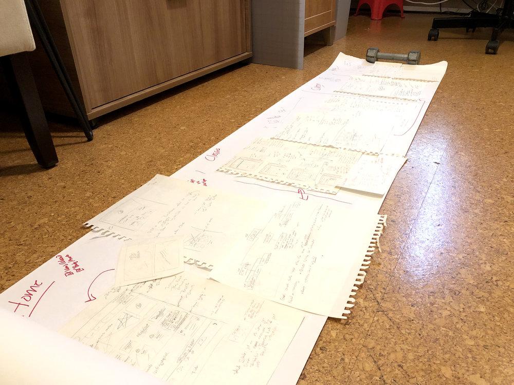 Low fidelity sketchboard for site flow (the floor is my whiteboard)