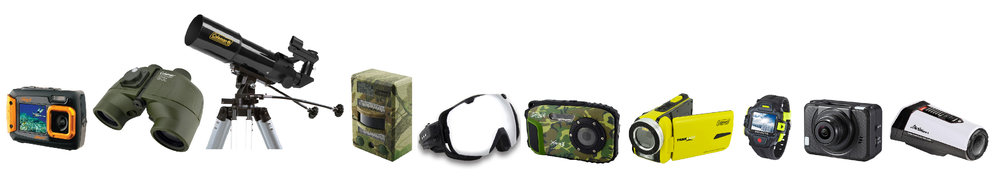 Assortment of Elite Brands Line of Coleman Outdoor Optics and Electronics