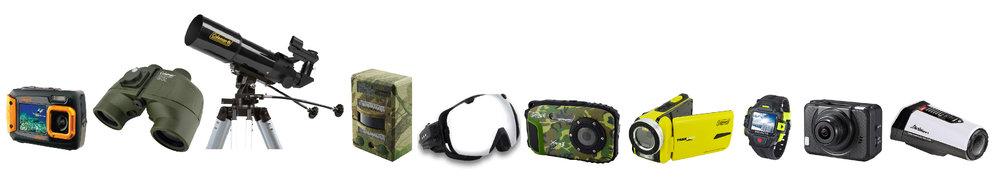 Assortment of Elite Brands Line of Coleman Outdoor Optics and Electronics