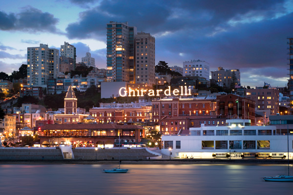 Ghirardelli Square with Bay in Foreground and Skyline in Background
