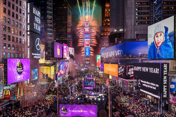 One Times Square New Year's Eve Celebration with Fireworks and Crowd