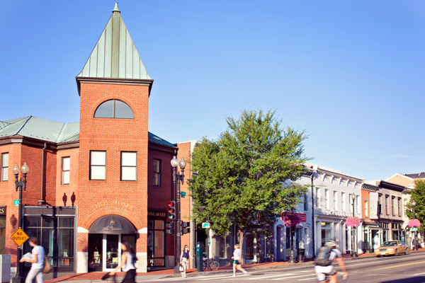 The Georgetown Collection Storefronts with Street and Pedestrirans