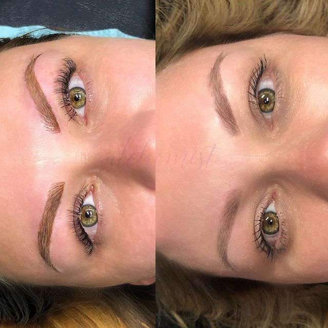 "P E R F E C T example of what I mean when I ensure you all ""They soften as they heal.""⁣ ⁣ Left is a fresh combo brow of powder and Microblading hairstrokes. Right is 8 months healed. ⁣ ⁣ See how they've softened?⁣ ⁣ She gets to swim, vacation, live her best life without a second thought on those brows budging.⁣ ⁣ Summer brows are made in the spring ladies... booking info linked in bio. ⁣  #healedmicroblading #healed #healedpermanentmakeup #minxbrows #minxfam #brows #permanentmakeup #microblading #ebllashes #eblbrandrep #louisville #louisvillelashes #anastasiabeverlyhills #derby #kentuckyderby #vacation #beach"