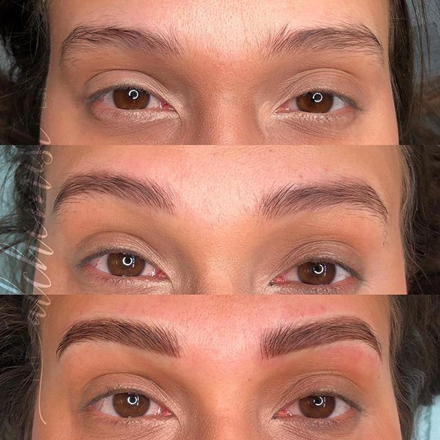 The progression of a combo brow. ⁣ ⁣ T O P : Client's natural brows⁣ ⁣ M I D D L E : HEALED after one session ⁣ ⁣ B O T T O M : After her second session has been completed. ⁣ ⁣ We were able to correct density issues while strengthening her arch without making her brows look overdone. ⁣ ⁣ I do this thing, where I consider how these brows are going to age and wear over the years. ⁣ ⁣ Pigment fades over time, which requires maintenance and future sessions. My priority is to always maintain the integrity of your skin, while working toward your dream brows. ⁣ ⁣ I am always very transparent with clients on their expectations and give advice with the long term result in mind. Why? Because once you're in my chair you've got me for long term boo, and I only want you to live happily ever after with those brows.
