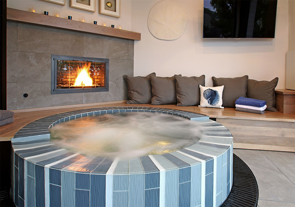 Modern Farmhouse - Manhattan BeachSpa room with fireplace and seating for entertainingA flow from your indoor and outdoor spaceIncreased living areaMulti-functional dining & pool table