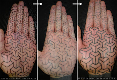This tattoo from BME.com shows the tattoo fresh, then 8 weeks later, and then having to be redone.